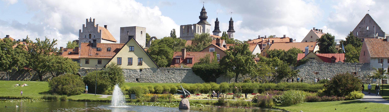 Almedalen på Gotland, en damm i förgrunden, Ringmuren och hustak i bakgrunden